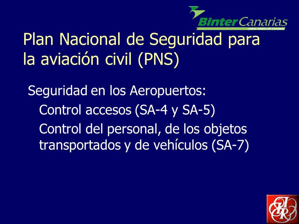 Plan Nacional de Seguridad para la aviación civil (PNS) Seguridad en los Aeropuertos: Control accesos (SA-4 y SA-5) Control del personal, de los objet