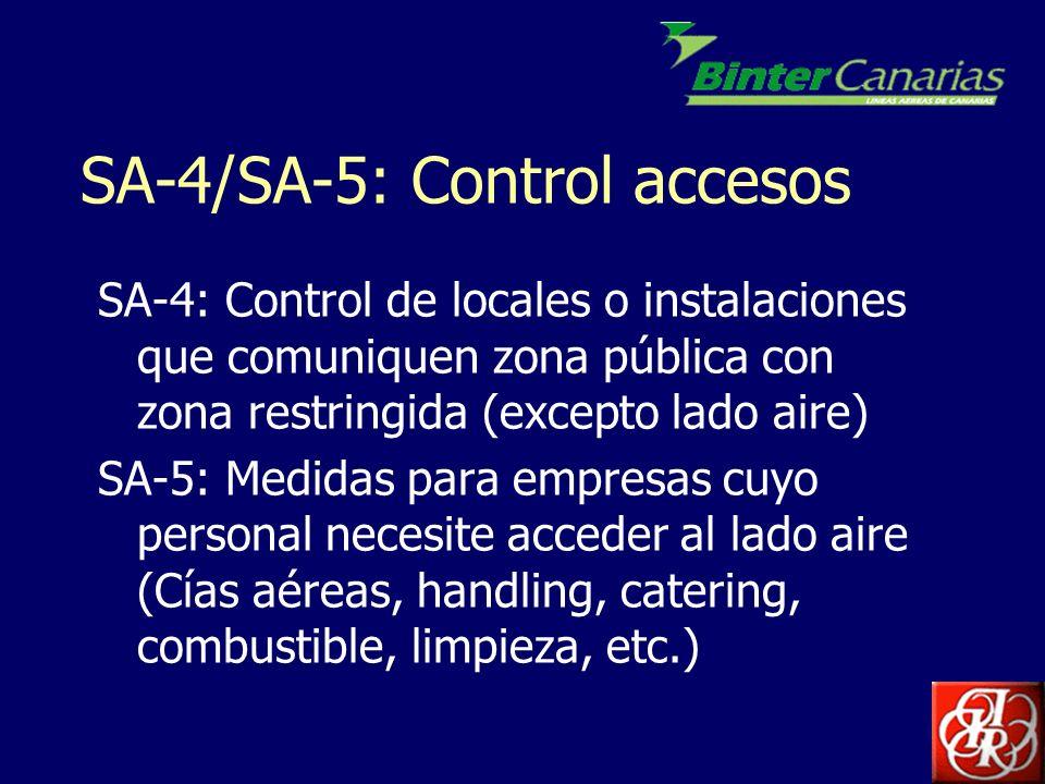 SA-4/SA-5: Control accesos SA-4: Control de locales o instalaciones que comuniquen zona pública con zona restringida (excepto lado aire) SA-5: Medidas