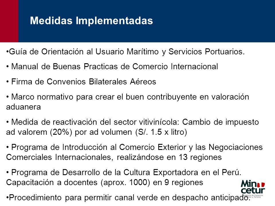 Guía de Orientación al Usuario Marítimo y Servicios Portuarios. Manual de Buenas Practicas de Comercio Internacional Firma de Convenios Bilaterales Aé