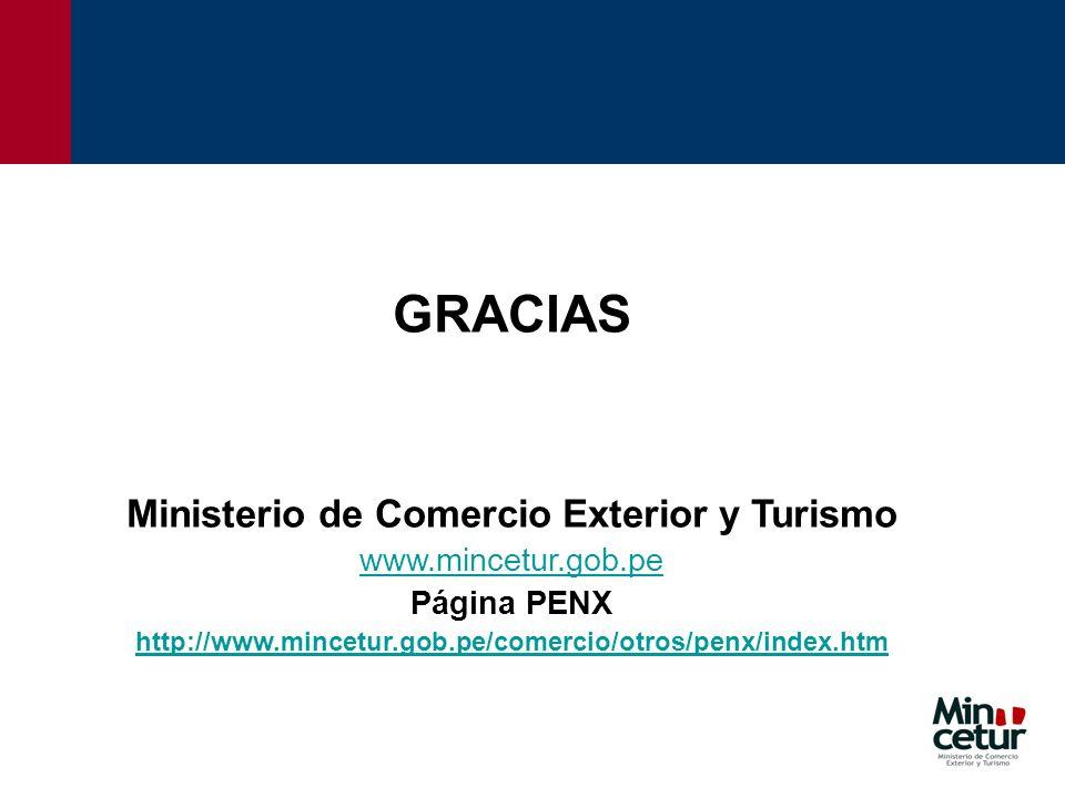 GRACIAS Ministerio de Comercio Exterior y Turismo www.mincetur.gob.pe Página PENX http://www.mincetur.gob.pe/comercio/otros/penx/index.htm