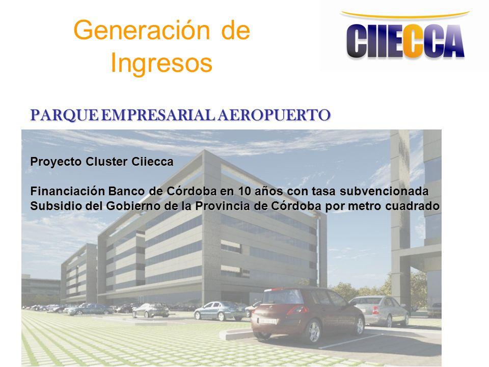 Generación de Ingresos PARQUE EMPRESARIAL AEROPUERTO Proyecto Cluster Ciiecca Financiación Banco de Córdoba en 10 años con tasa subvencionada Subsidio