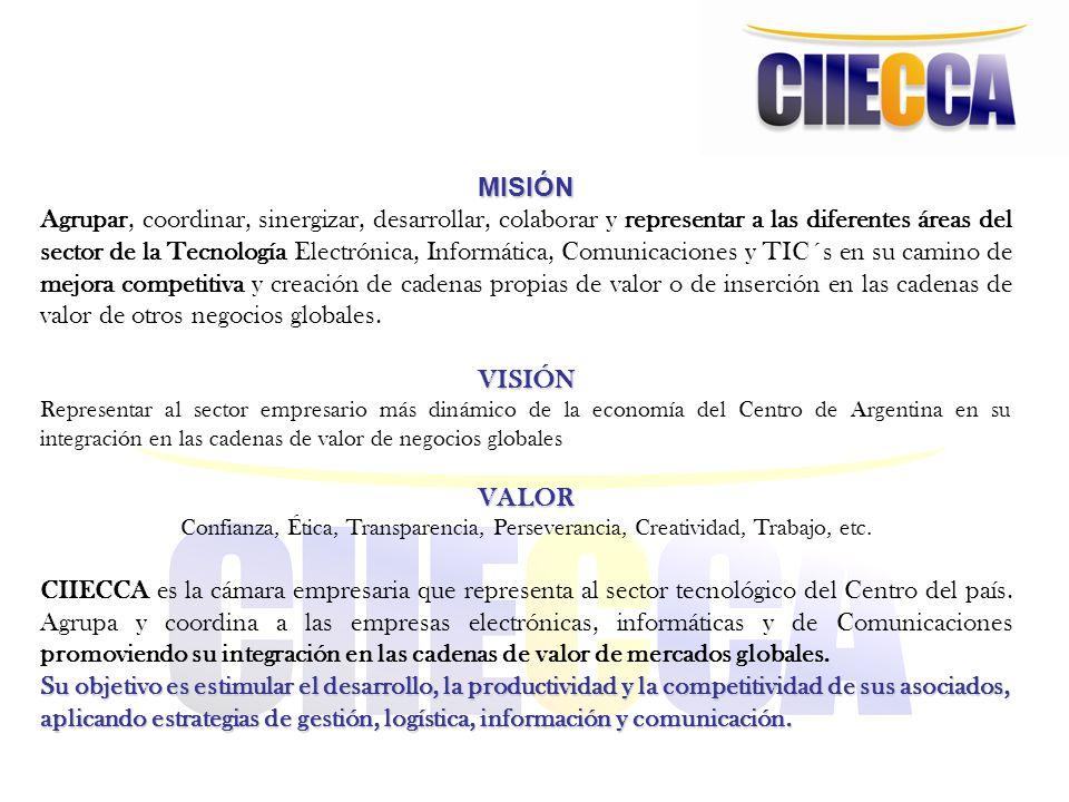Historia CIIECCA empezó en el 2000 con 6 empresas, y actualmente son 100 Todas pymes fabricantes nacionales de distintos productos, desde electrónica industrial, hasta sistemas de seguridad, pasando por telecomunicaciones, broadcasting, electrónica en medicina y en agro.