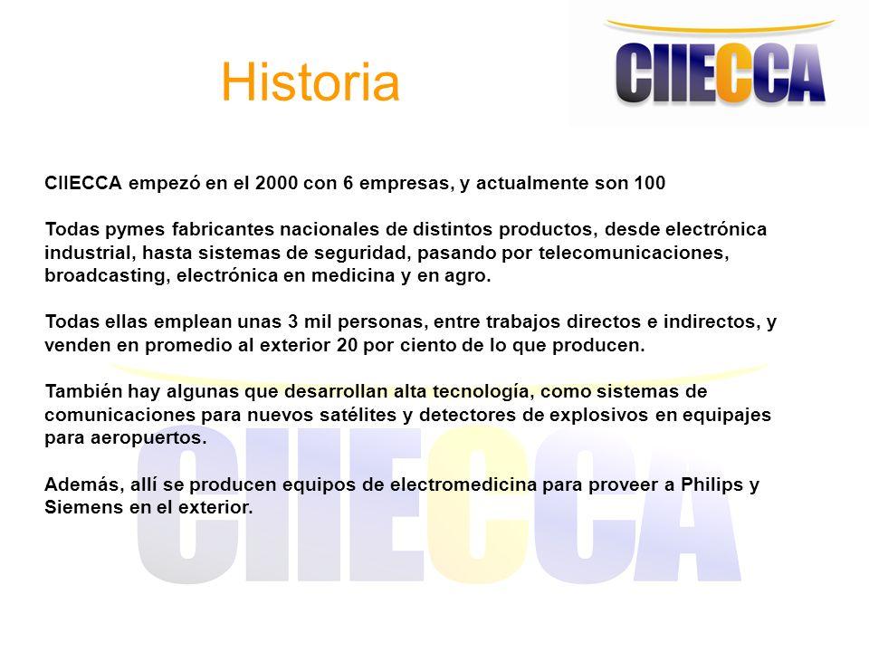 Historia CIIECCA empezó en el 2000 con 6 empresas, y actualmente son 100 Todas pymes fabricantes nacionales de distintos productos, desde electrónica