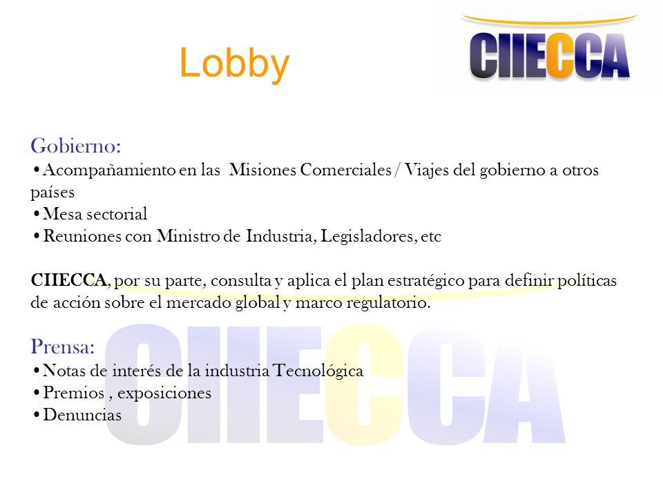 Lobby Gobierno: Acompañamiento en las Misiones Comerciales / Viajes del gobierno a otros países Mesa sectorial Reuniones con Ministro de Industria, Le
