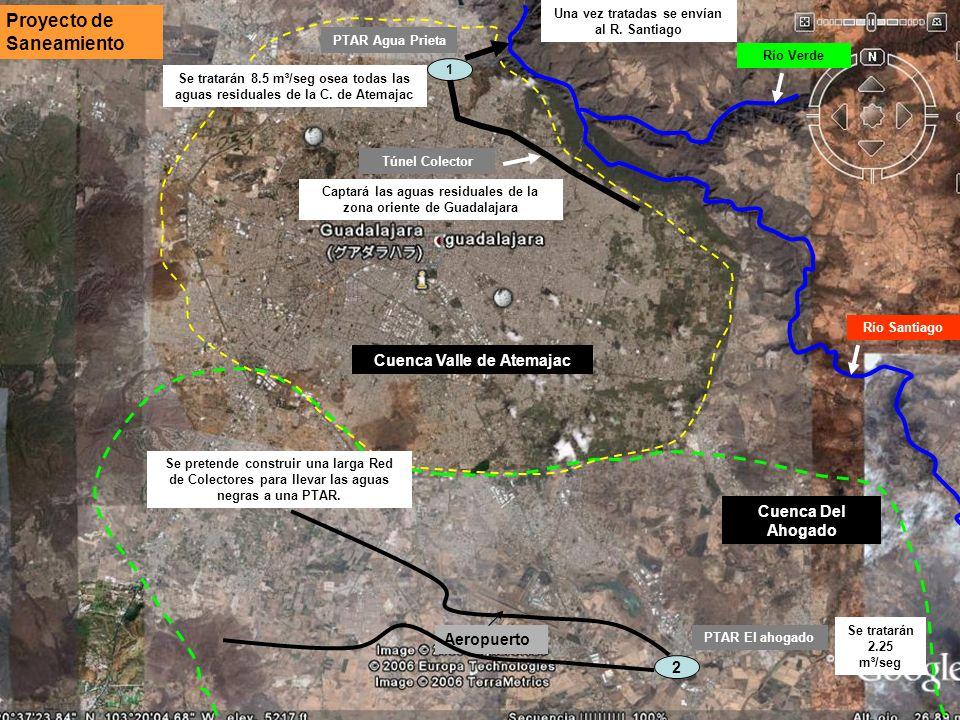 Cuenca Valle de Atemajac Cuenca Del Ahogado Río Verde Proyecto de Saneamiento Río Santiago 1 Aeropuerto PTAR Agua Prieta Túnel Colector Captará las ag