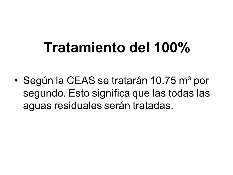 Tratamiento del 100% Según la CEAS se tratarán 10.75 m³ por segundo. Esto significa que las todas las aguas residuales serán tratadas.
