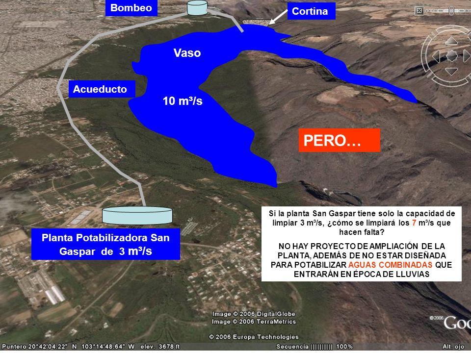 Cortina Vaso 10 m³/s Bombeo Acueducto Planta Potabilizadora San Gaspar de 3 m³/s PERO… Si la planta San Gaspar tiene solo la capacidad de limpiar 3 m³
