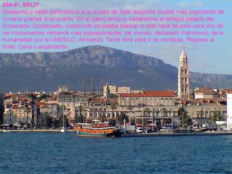 DÍA 6°. SPLIT Desayuno y visita panorámica a la ciudad de Split, segunda ciudad más importante de Croacia gracias a su puerto. En el casco antiguo vis