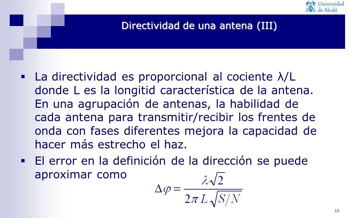 10 Directividad de una antena (III) La directividad es proporcional al cociente λ/L donde L es la longitid característica de la antena. En una agrupac