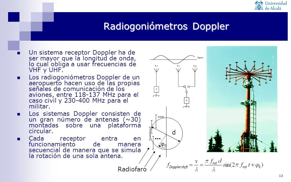 13 Radiogoniómetros Doppler Un sistema receptor Doppler ha de ser mayor que la longitud de onda, lo cual obliga a usar frecuencias de VHF y UHF. Los r
