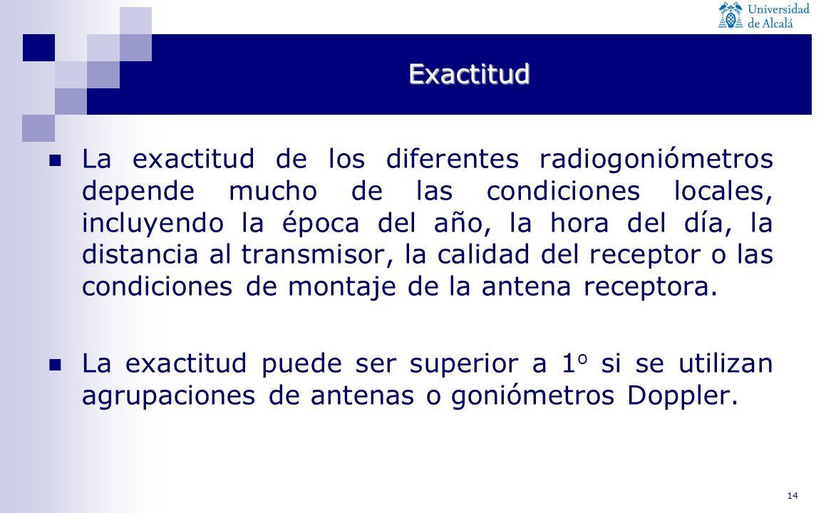 14 Exactitud La exactitud de los diferentes radiogoniómetros depende mucho de las condiciones locales, incluyendo la época del año, la hora del día, l