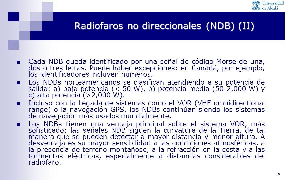 18 Radiofaros no direccionales (NDB) (II) Cada NDB queda identificado por una señal de código Morse de una, dos o tres letras. Puede haber excepciones