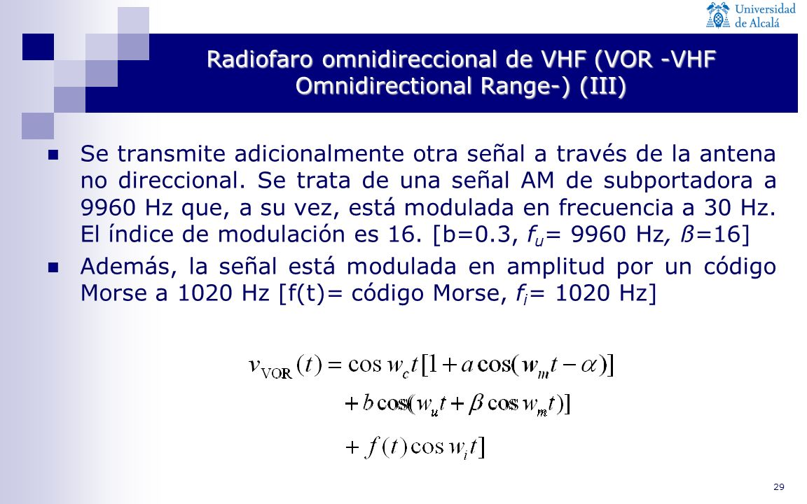 29 Radiofaro omnidireccional de VHF (VOR -VHF Omnidirectional Range-) (III) Se transmite adicionalmente otra señal a través de la antena no direcciona