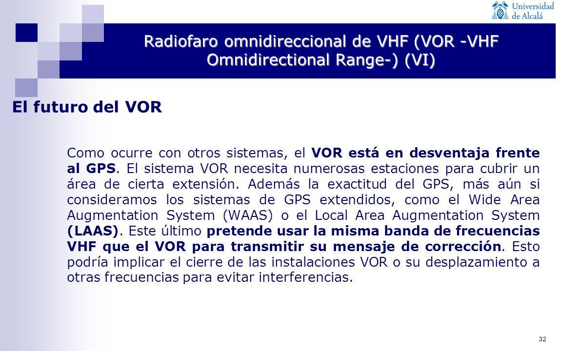 32 Radiofaro omnidireccional de VHF (VOR -VHF Omnidirectional Range-) (VI) El futuro del VOR Como ocurre con otros sistemas, el VOR está en desventaja