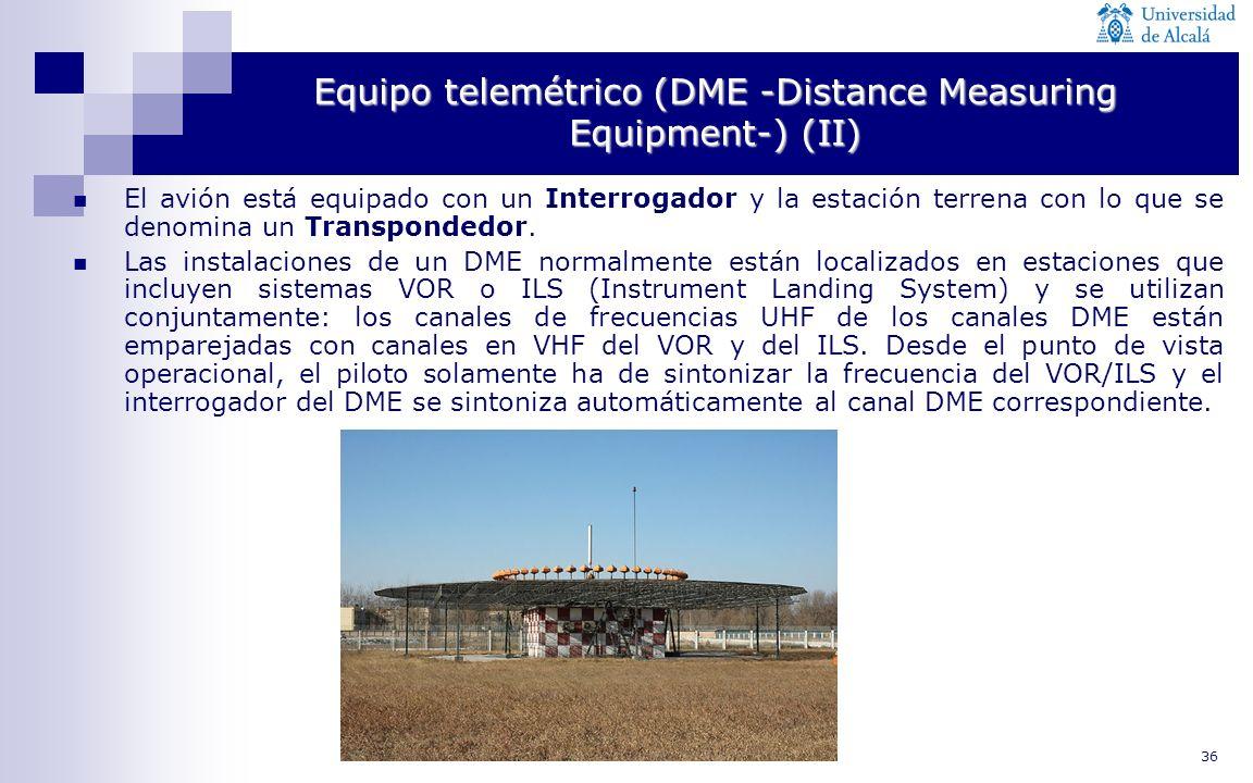 36 Equipo telemétrico (DME -Distance Measuring Equipment-) (II) El avión está equipado con un Interrogador y la estación terrena con lo que se denomin