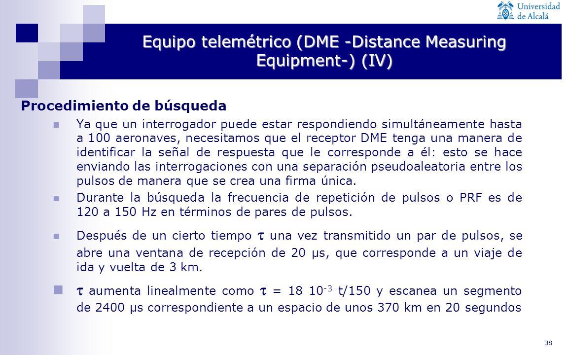 38 Equipo telemétrico (DME -Distance Measuring Equipment-) (IV) Procedimiento de búsqueda Ya que un interrogador puede estar respondiendo simultáneame