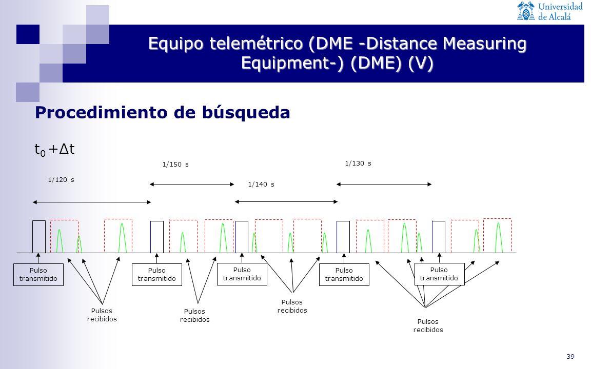 40 Equipo telemétrico (DME -Distance Measuring Equipment-) (VI) Seguimiento Una vez terminada la búsqueda, la ventana temporal se centra en torno al punto que da el mayor número de pulsos de repuesta y el receptor pasa al modo de seguimiento, en el que transmite de 24 a 30 pares de pulsos por segundo Según la distancia entre el avión y el transpondedor terreno varía, la ventana temporal sigue el movimiento del avíon de tal manera que continúa centrado alrededor del punto de máxima respuesta.