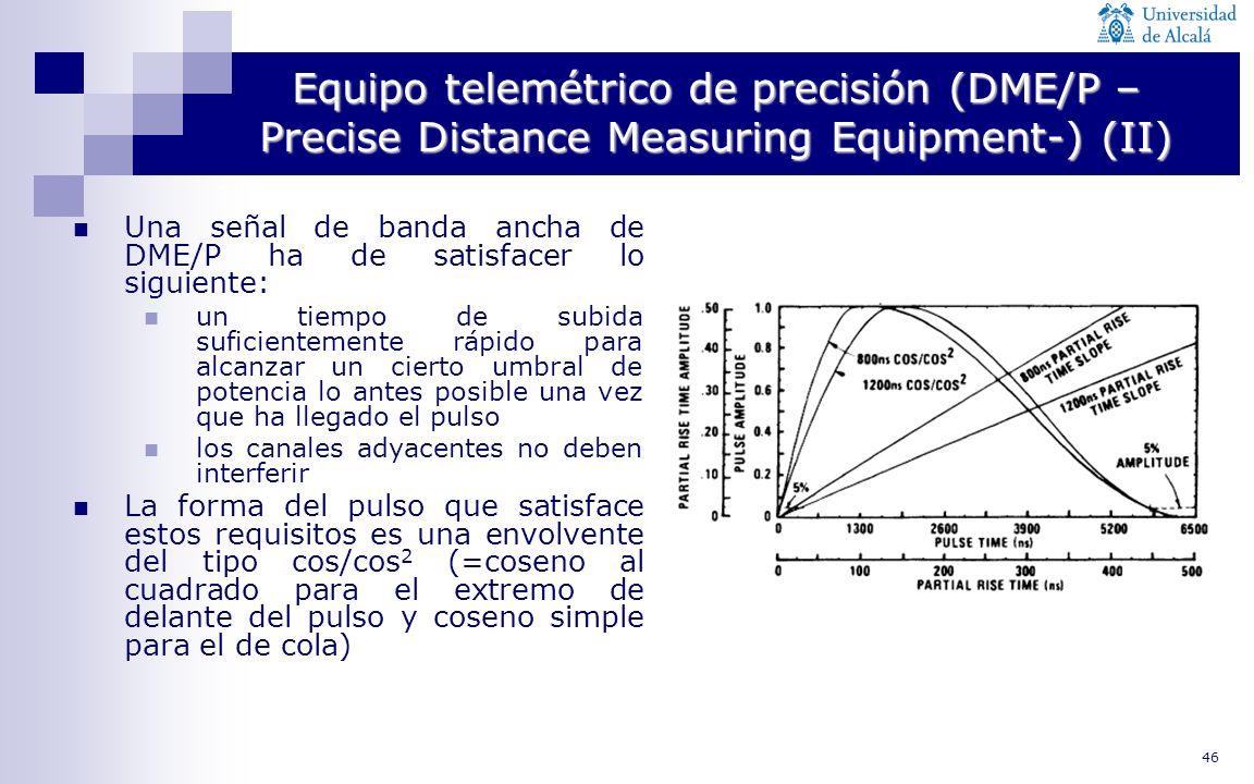 46 Equipo telemétrico de precisión (DME/P – Precise Distance Measuring Equipment-) (II) Una señal de banda ancha de DME/P ha de satisfacer lo siguient