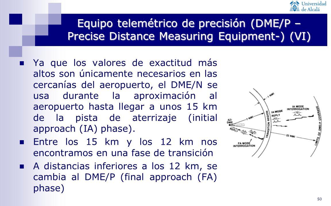 50 Equipo telemétrico de precisión (DME/P – Precise Distance Measuring Equipment-) (VI) Ya que los valores de exactitud más altos son únicamente neces