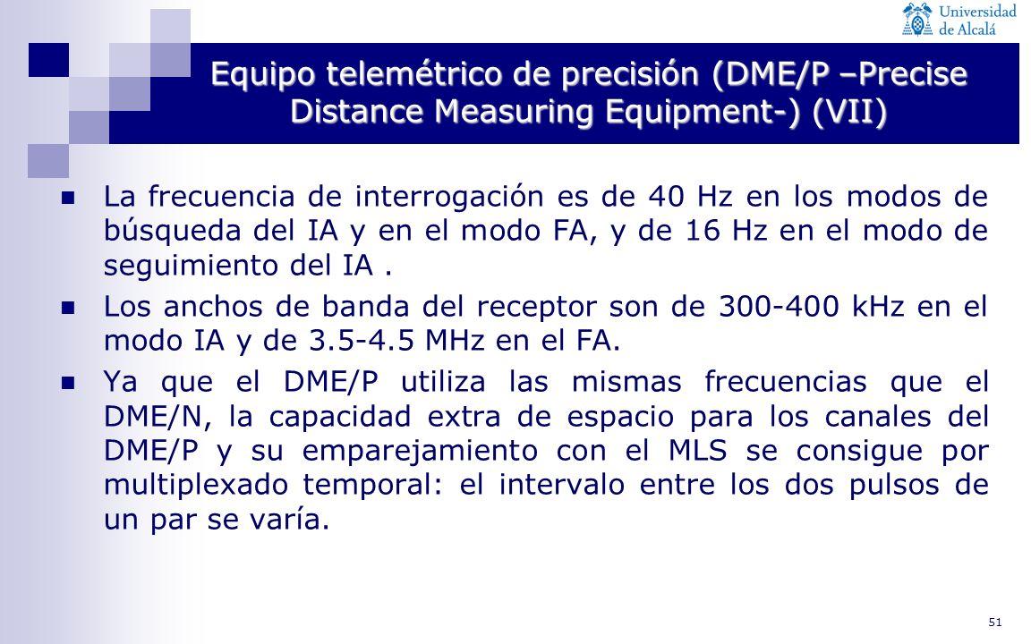 51 Equipo telemétrico de precisión (DME/P –Precise Distance Measuring Equipment-) (VII) La frecuencia de interrogación es de 40 Hz en los modos de bús
