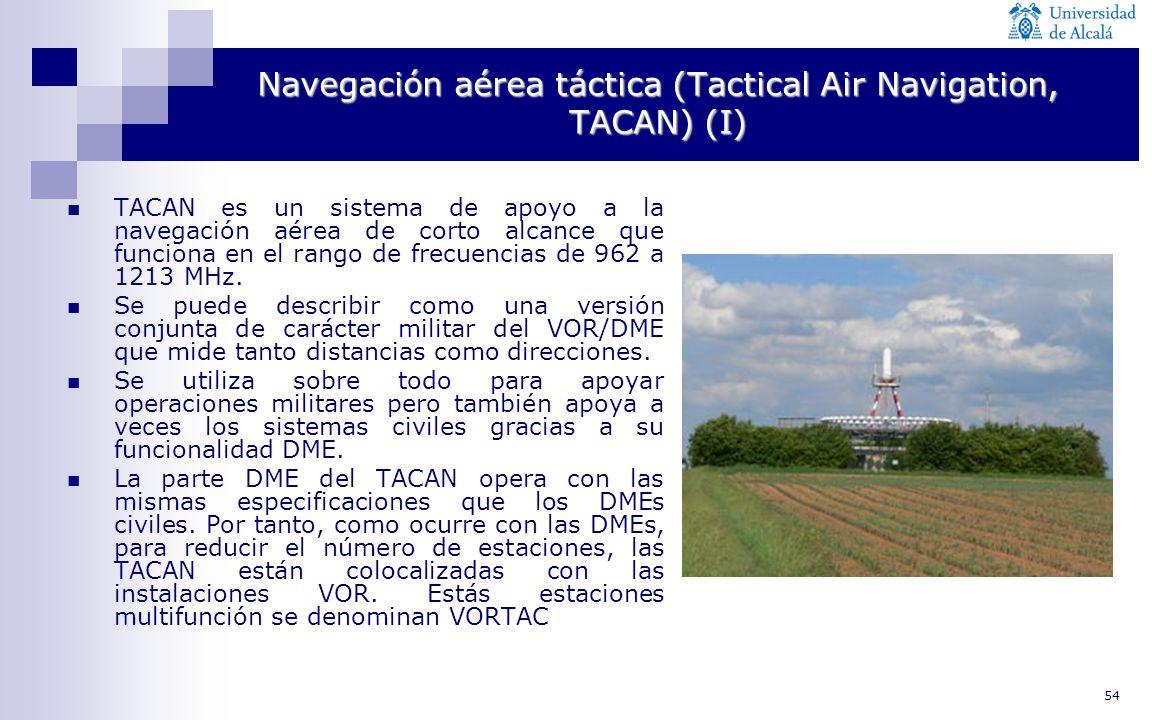 54 Navegación aérea táctica (Tactical Air Navigation, TACAN) (I) TACAN es un sistema de apoyo a la navegación aérea de corto alcance que funciona en e