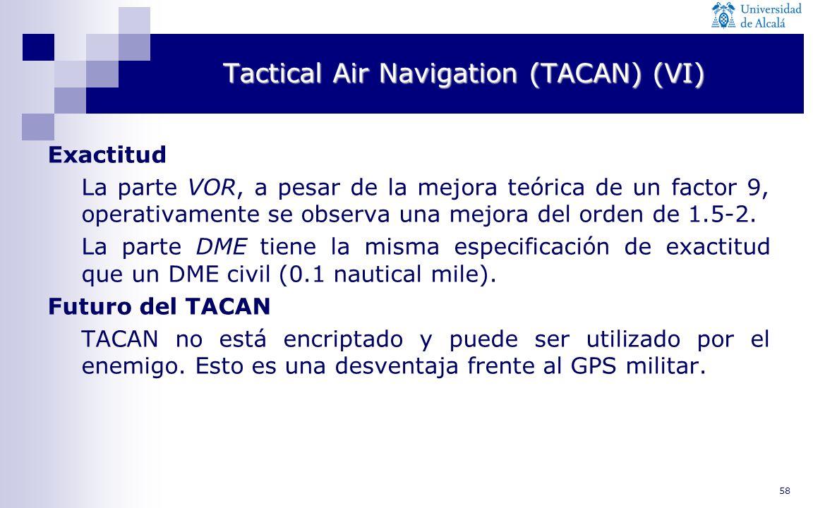 58 Tactical Air Navigation (TACAN) (VI) Exactitud La parte VOR, a pesar de la mejora teórica de un factor 9, operativamente se observa una mejora del