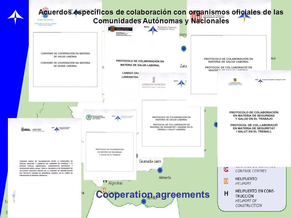 Acuerdos específicos de colaboración con organismos oficiales de las Comunidades Autónomas y Nacionales Cooperation agreements