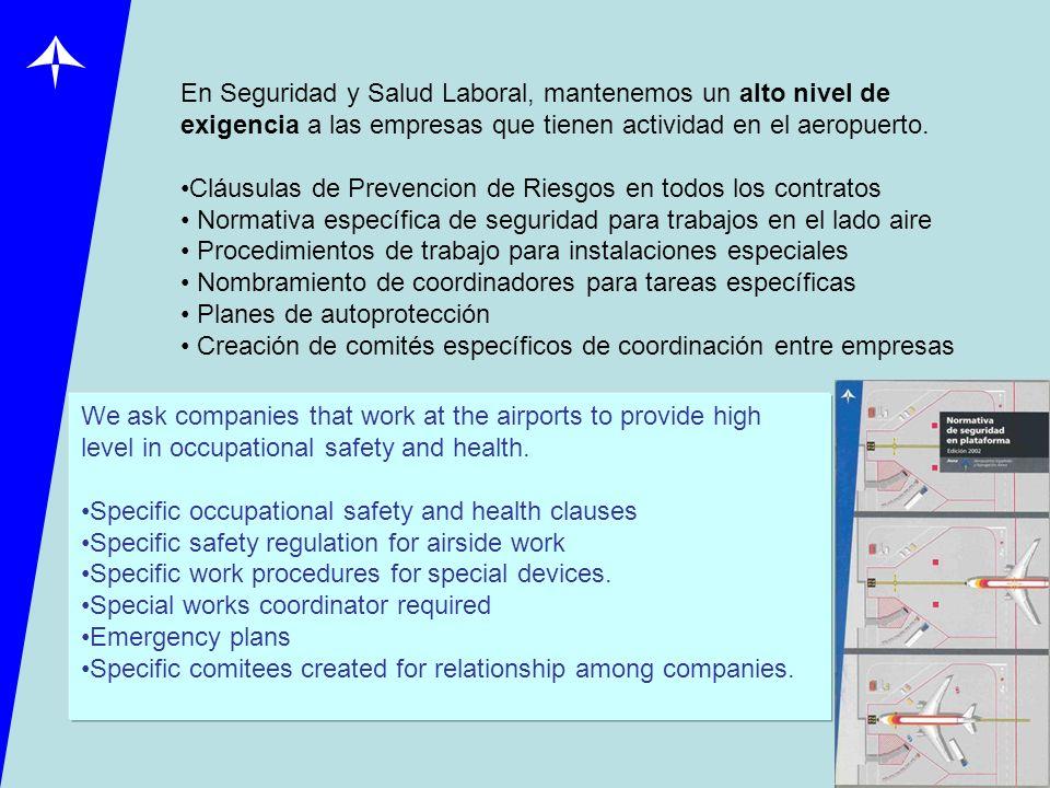 En Seguridad y Salud Laboral, mantenemos un alto nivel de exigencia a las empresas que tienen actividad en el aeropuerto. Cláusulas de Prevencion de R