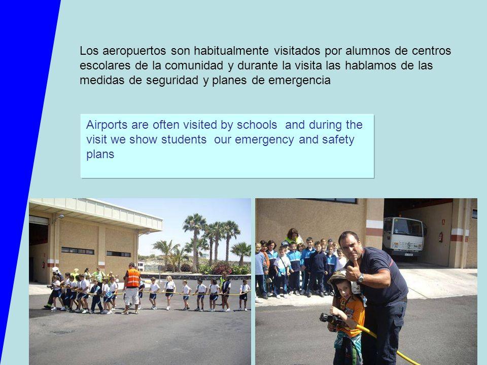 Los aeropuertos son habitualmente visitados por alumnos de centros escolares de la comunidad y durante la visita las hablamos de las medidas de seguri