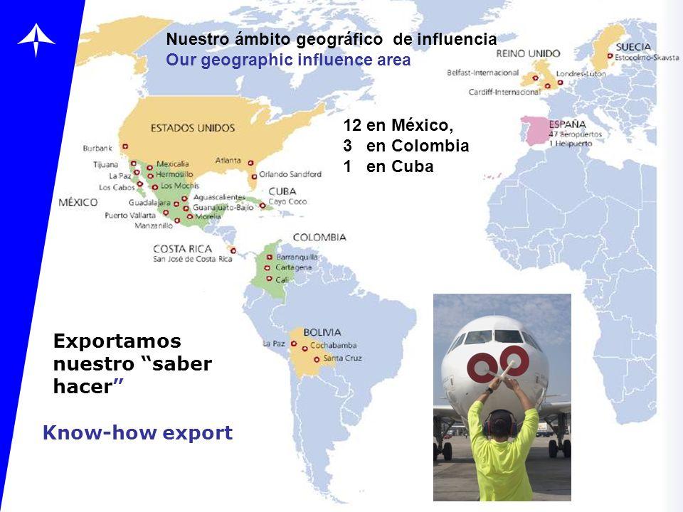 Know-how export Exportamos nuestro saber hacer Nuestro ámbito geográfico de influencia Our geographic influence area 12 en México, 3 en Colombia 1 en