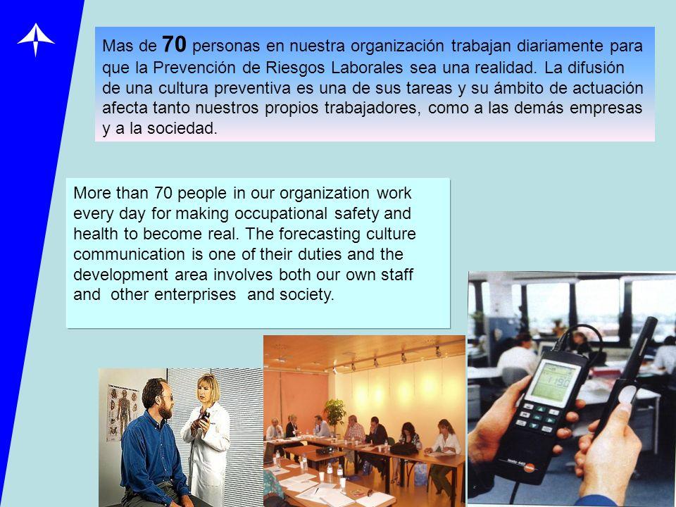 Mas de 70 personas en nuestra organización trabajan diariamente para que la Prevención de Riesgos Laborales sea una realidad. La difusión de una cultu