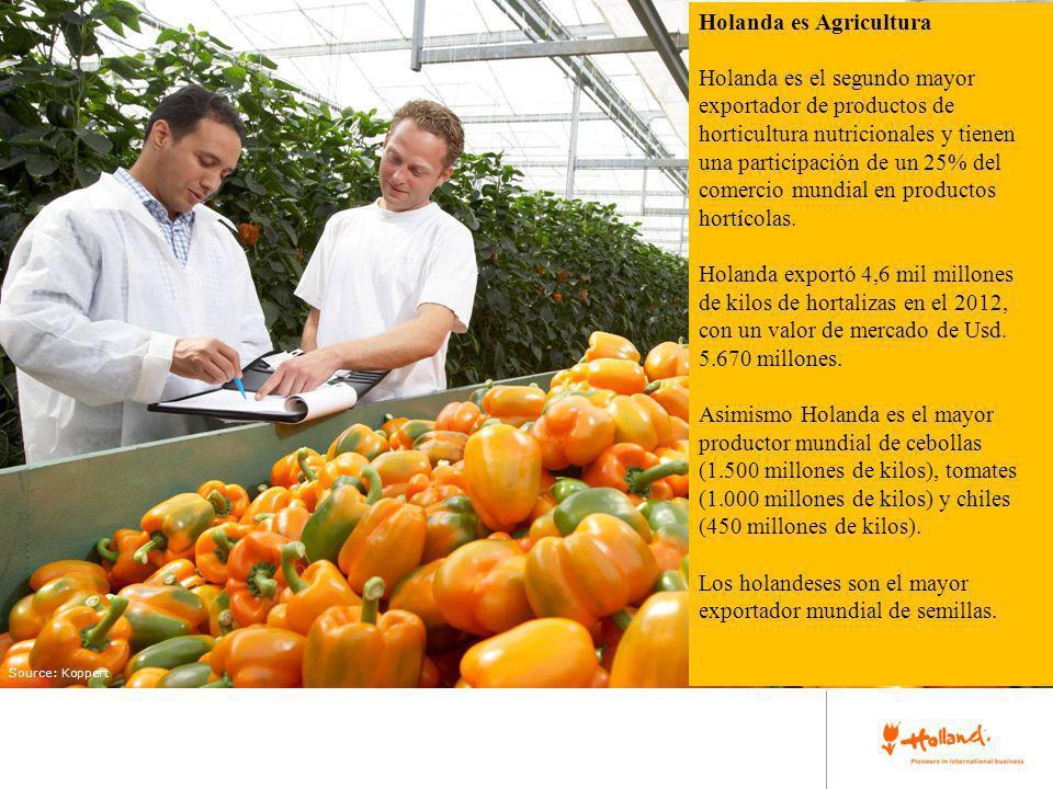 place your image here Source: Koppert Holanda es Agricultura Holanda es el segundo mayor exportador de productos de horticultura nutricionales y tiene