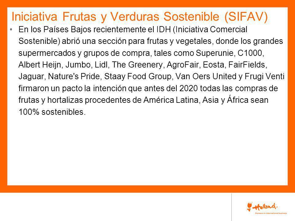 Iniciativa Frutas y Verduras Sostenible (SIFAV) En los Países Bajos recientemente el IDH (Iniciativa Comercial Sostenible) abrió una sección para frut