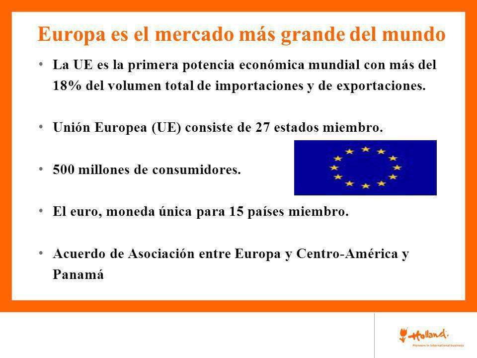 Europa es el mercado más grande del mundo La UE es la primera potencia económica mundial con más del 18% del volumen total de importaciones y de expor