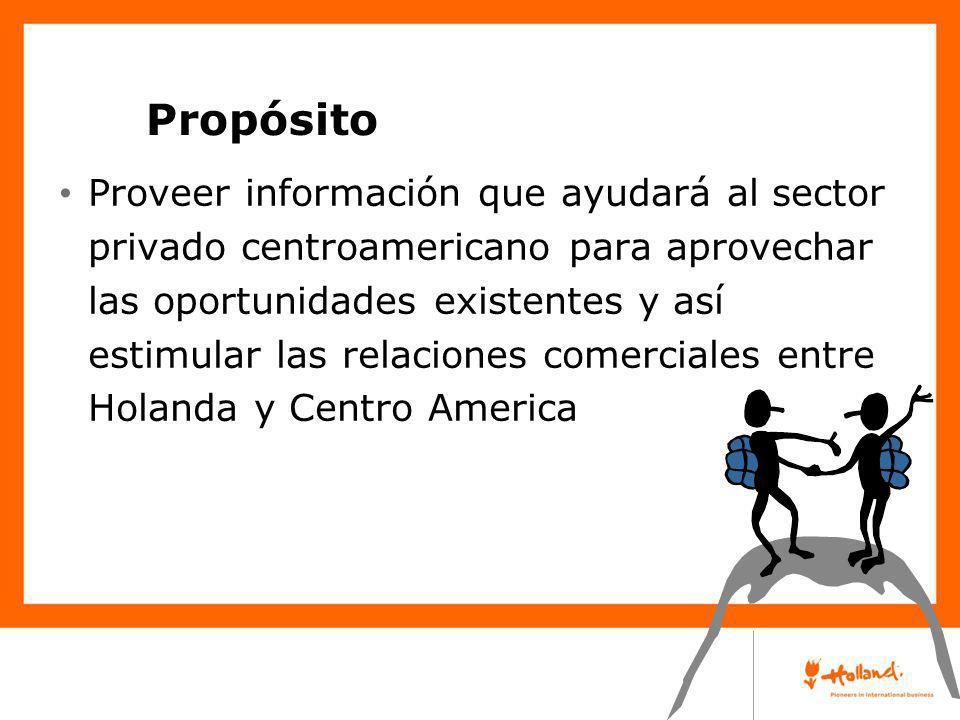 Proveer información que ayudará al sector privado centroamericano para aprovechar las oportunidades existentes y así estimular las relaciones comercia