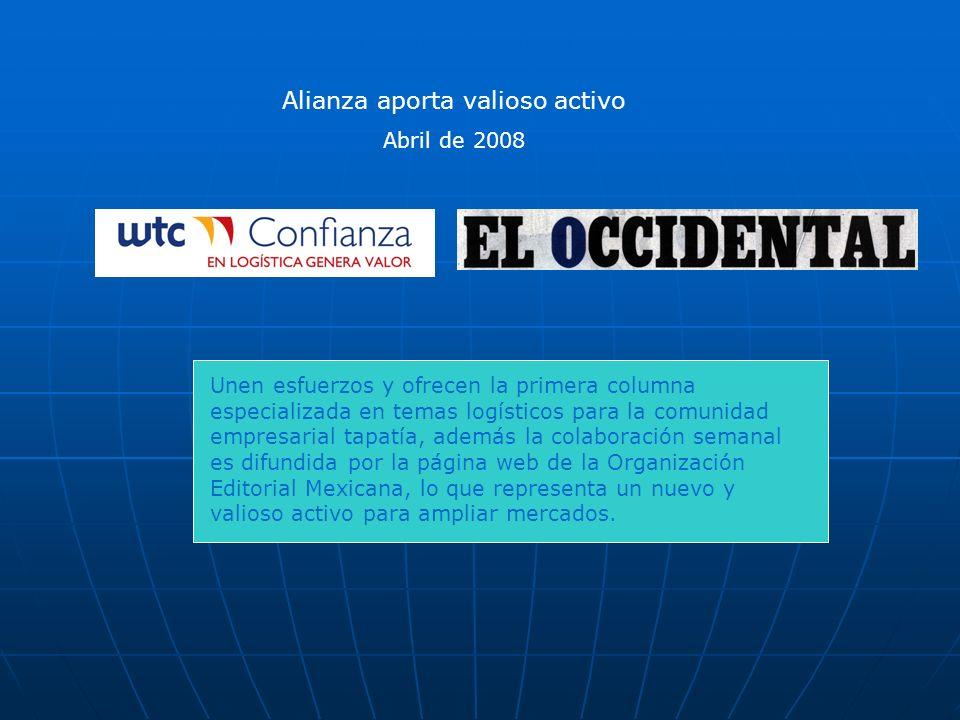 Unen esfuerzos y ofrecen la primera columna especializada en temas logísticos para la comunidad empresarial tapatía, además la colaboración semanal es difundida por la página web de la Organización Editorial Mexicana, lo que representa un nuevo y valioso activo para ampliar mercados.