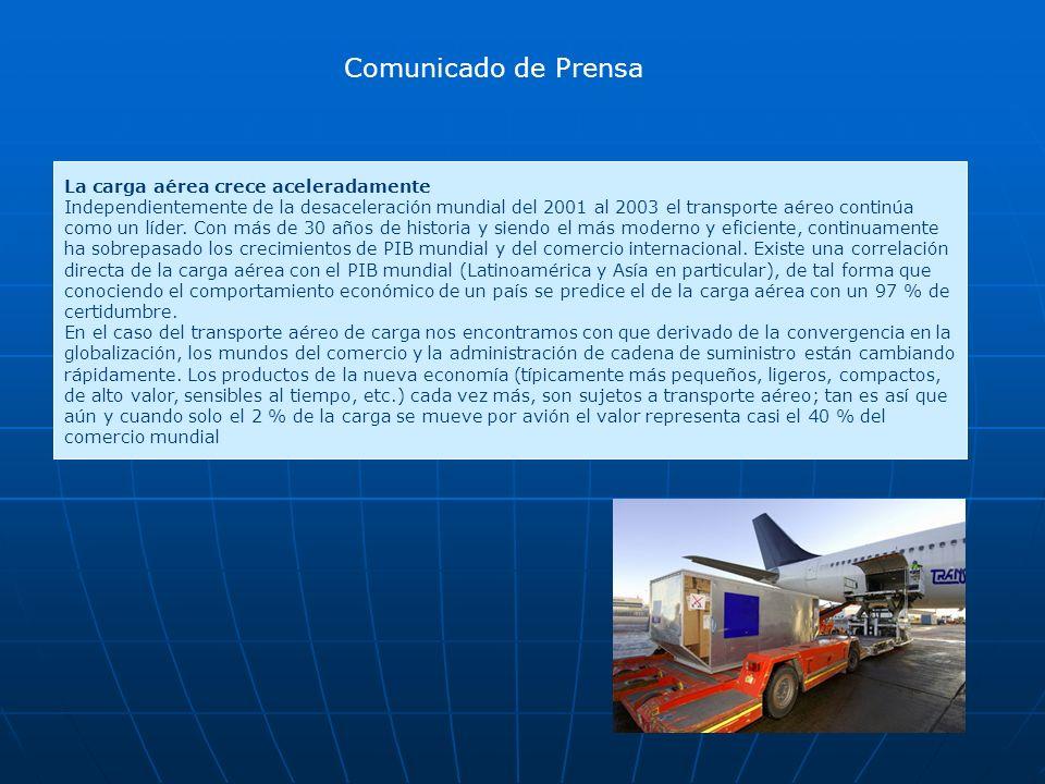 Comunicado de Prensa La carga aérea crece aceleradamente Independientemente de la desaceleración mundial del 2001 al 2003 el transporte aéreo continúa como un líder.