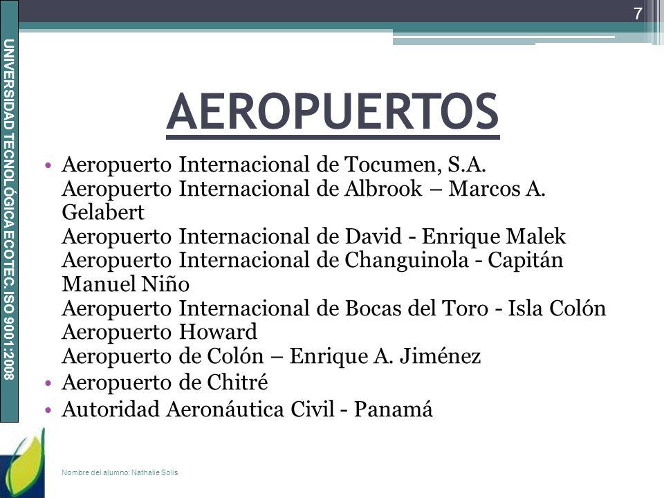 UNIVERSIDAD TECNOLÓGICA ECOTEC. ISO 9001:2008 AEROPUERTOS Aeropuerto Internacional de Tocumen, S.A. Aeropuerto Internacional de Albrook – Marcos A. Ge