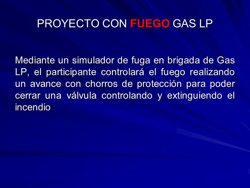 Mediante un simulador de fuga en brigada de Gas LP, el participante controlará el fuego realizando un avance con chorros de protección para poder cerr