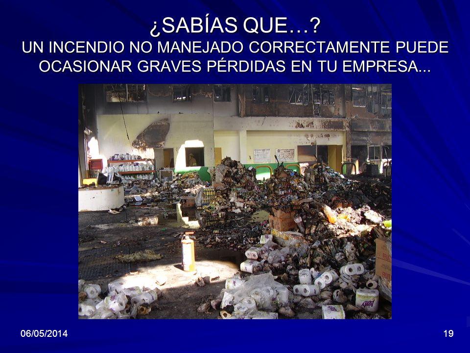 06/05/201419 ¿SABÍAS QUE…? UN INCENDIO NO MANEJADO CORRECTAMENTE PUEDE OCASIONAR GRAVES PÉRDIDAS EN TU EMPRESA...