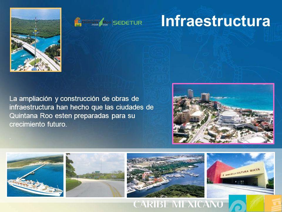 Infraestructura La ampliación y construcción de obras de infraestructura han hecho que las ciudades de Quintana Roo esten preparadas para su crecimiento futuro..