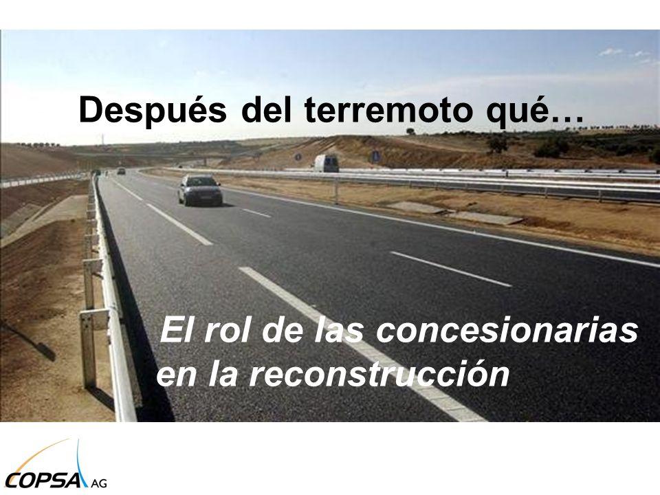 US$ 10.500 millones en daños en infraestructura pública US$ 10.300 millones en daños en infraestructura privada US $ 7.600 millones por pérdida de productos US$ 30 mil millones de dólares aproximados en pérdidas Viviendas, colegios, hospitales, carreteras y un largo etcétera de obras deberán ponerse prontamente en marcha LOS DAÑOS EN US$ Después del terremoto qué… El rol de las concesionarias en la reconstrucción