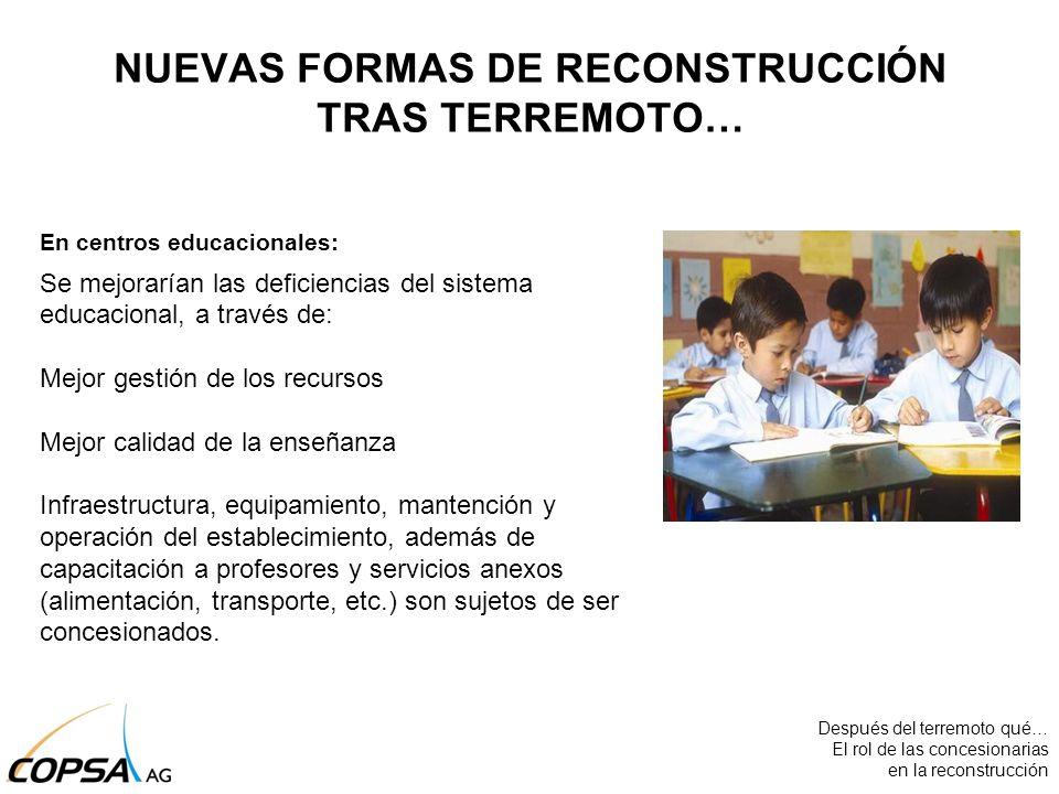 En centros educacionales: Se mejorarían las deficiencias del sistema educacional, a través de: Mejor gestión de los recursos Mejor calidad de la enseñ