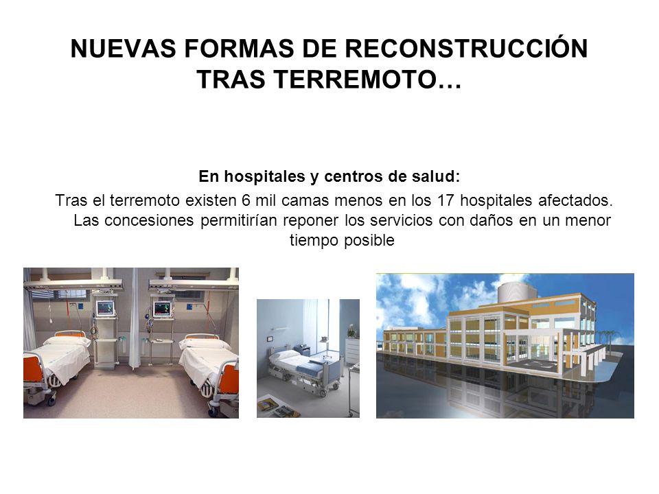 NUEVAS FORMAS DE RECONSTRUCCIÓN TRAS TERREMOTO… En hospitales y centros de salud: Tras el terremoto existen 6 mil camas menos en los 17 hospitales afe
