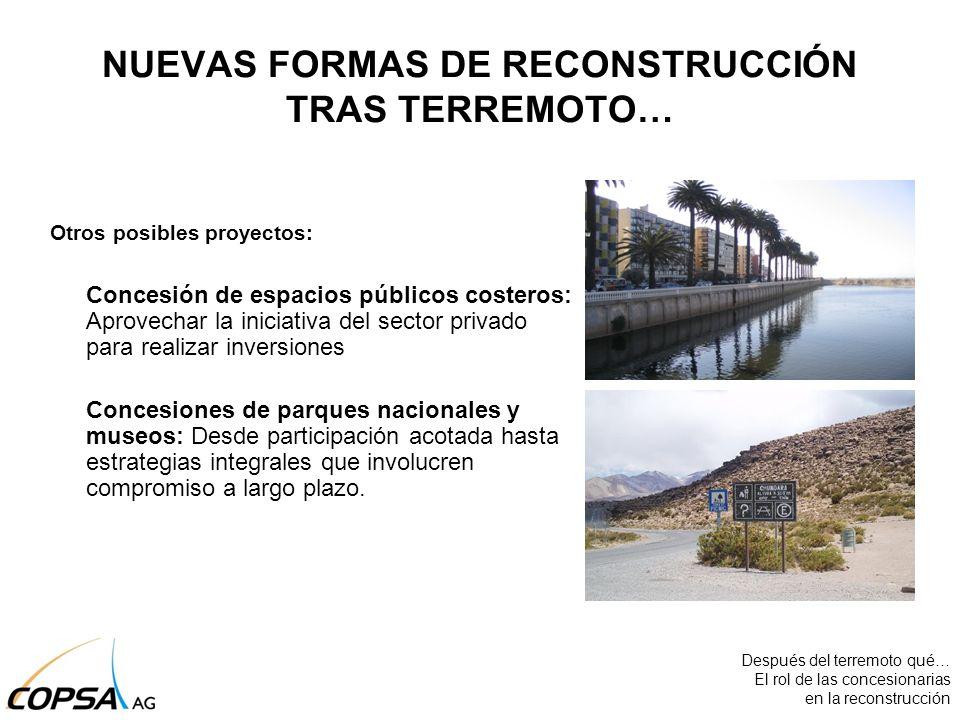 Otros posibles proyectos: Concesión de espacios públicos costeros: Aprovechar la iniciativa del sector privado para realizar inversiones Concesiones d