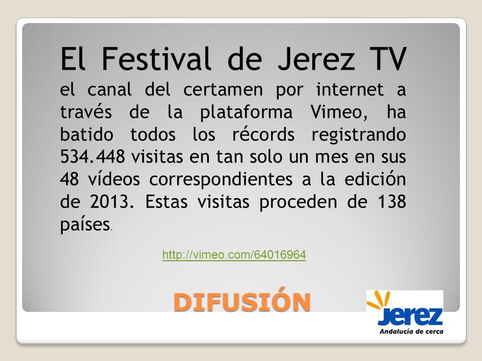DIFUSIÓN El Festival de Jerez TV el canal del certamen por internet a trav é s de la plataforma Vimeo, ha batido todos los r é cords registrando 534.448 visitas en tan solo un mes en sus 48 v í deos correspondientes a la edici ó n de 2013.
