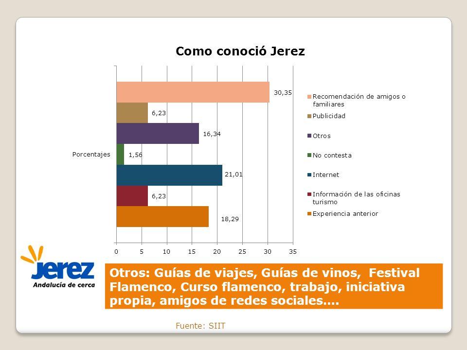 Otros: Guías de viajes, Guías de vinos, Festival Flamenco, Curso flamenco, trabajo, iniciativa propia, amigos de redes sociales….