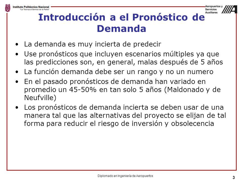 3 Introducción a el Pronóstico de Demanda La demanda es muy incierta de predecir Use pronósticos que incluyen escenarios múltiples ya que las predicciones son, en general, malas después de 5 años La función demanda debe ser un rango y no un numero En el pasado pronósticos de demanda han variado en promedio un 45-50% en tan solo 5 años (Maldonado y de Neufville) Los pronósticos de demanda incierta se deben usar de una manera tal que las alternativas del proyecto se elijan de tal forma para reducir el riesgo de inversión y obsolecencia Diplomado en Ingeniería de Aeropuertos