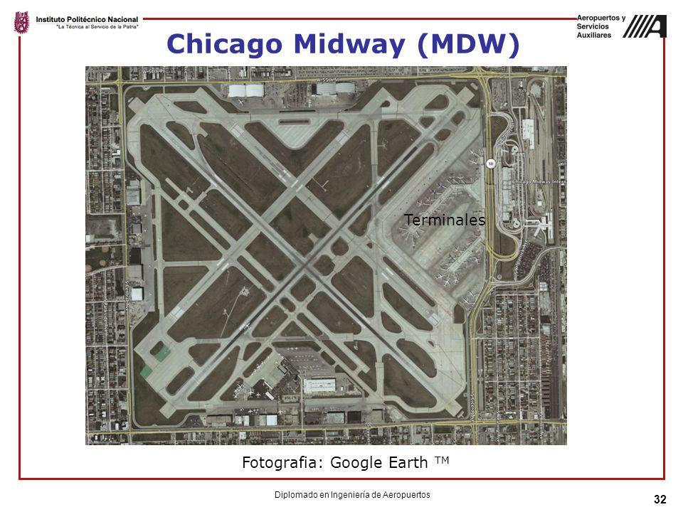 Chicago Midway (MDW) 32 Diplomado en Ingeniería de Aeropuertos Fotografia: Google Earth TM Terminales