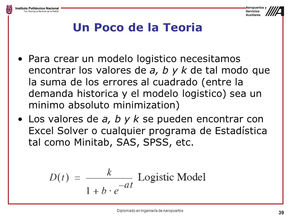 Un Poco de la Teoria Para crear un modelo logistico necesitamos encontrar los valores de a, b y k de tal modo que la suma de los errores al cuadrado (entre la demanda historica y el modelo logistico) sea un minimo absoluto minimization) Los valores de a, b y k se pueden encontrar con Excel Solver o cualquier programa de Estadística tal como Minitab, SAS, SPSS, etc.